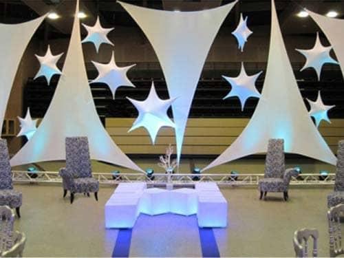 Toile Lycra et étoiles 3D